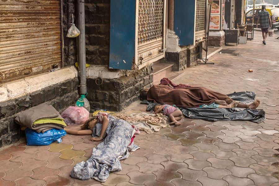 Mumbai, India - February 28, 2016: Unidentified  poor people sle