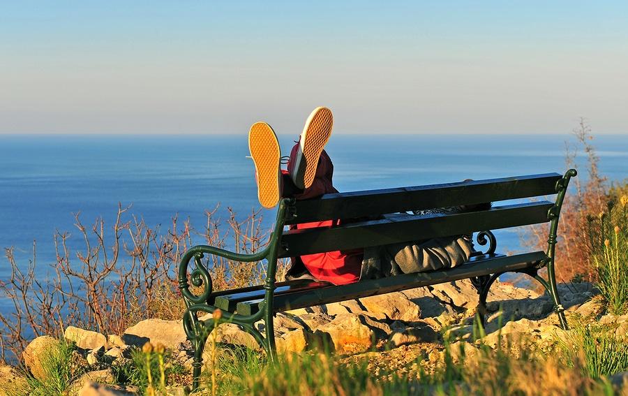 Summer scene of doing nothing at the seaside